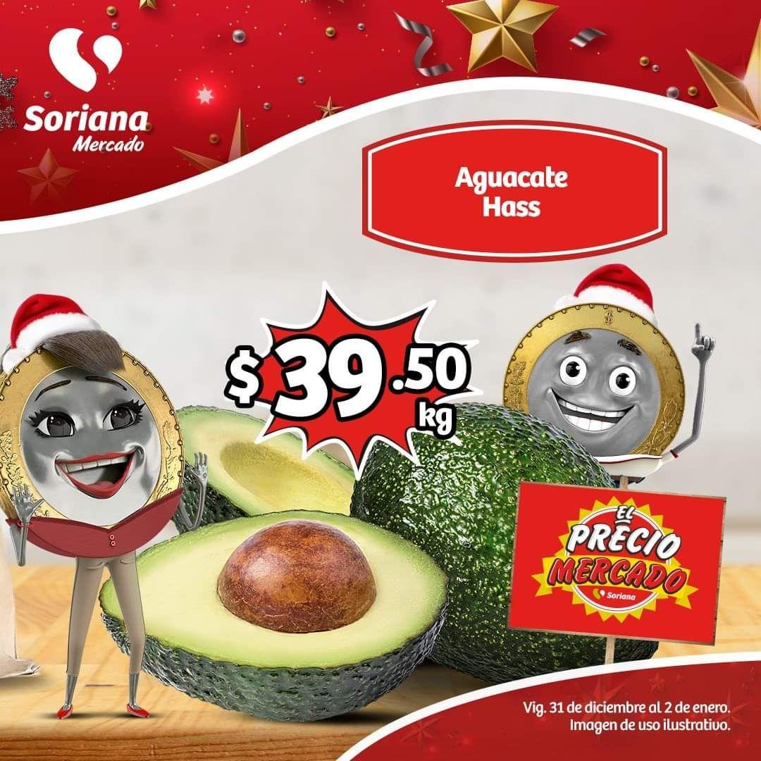 Soriana Mercado y Express: Frescos del Martes 31 Diciembre al Jueves 2 Enero: Piña Miel $19.90 kg... Aguacate Hass $39.50 kg.