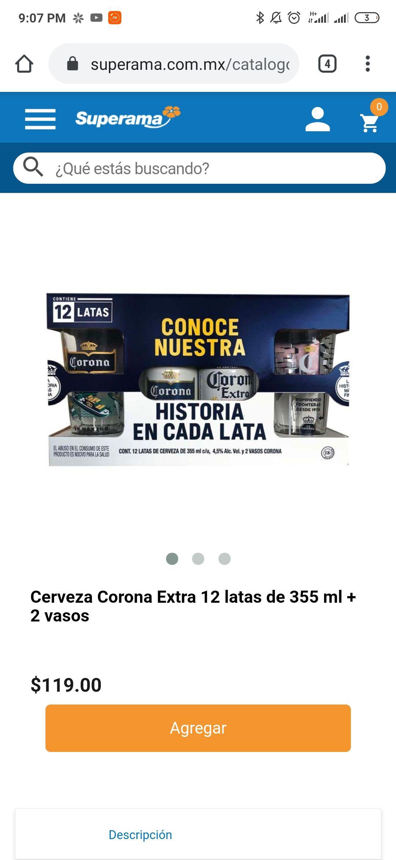 Superama: Cerveza Corona Extra 12 latas de 355 ml + 2 vasos