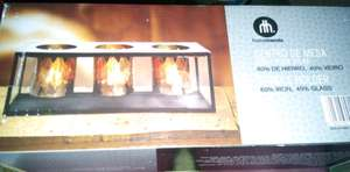 Walmart Culiacan: centro de mesa con tres posa velas a $35.01