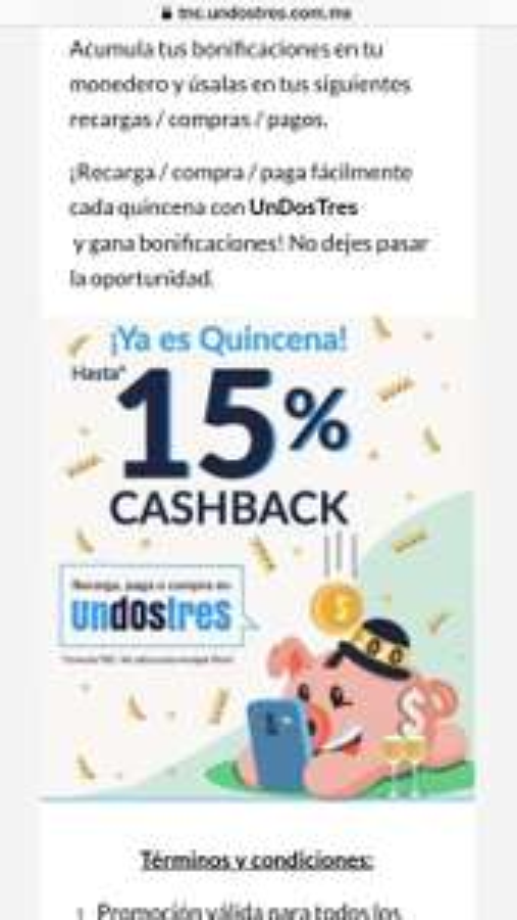 Undostres: 15% CashBack