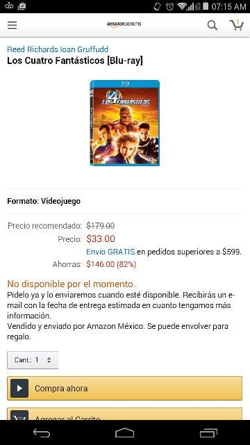 Amazon MX: Película Los Cuatro Fantásticos en Bluray a $33