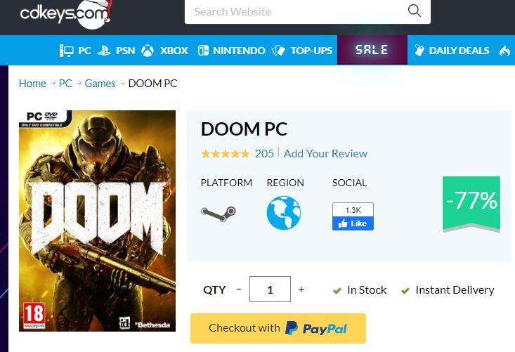 CDkeys: Doom Pc (Steam Key)