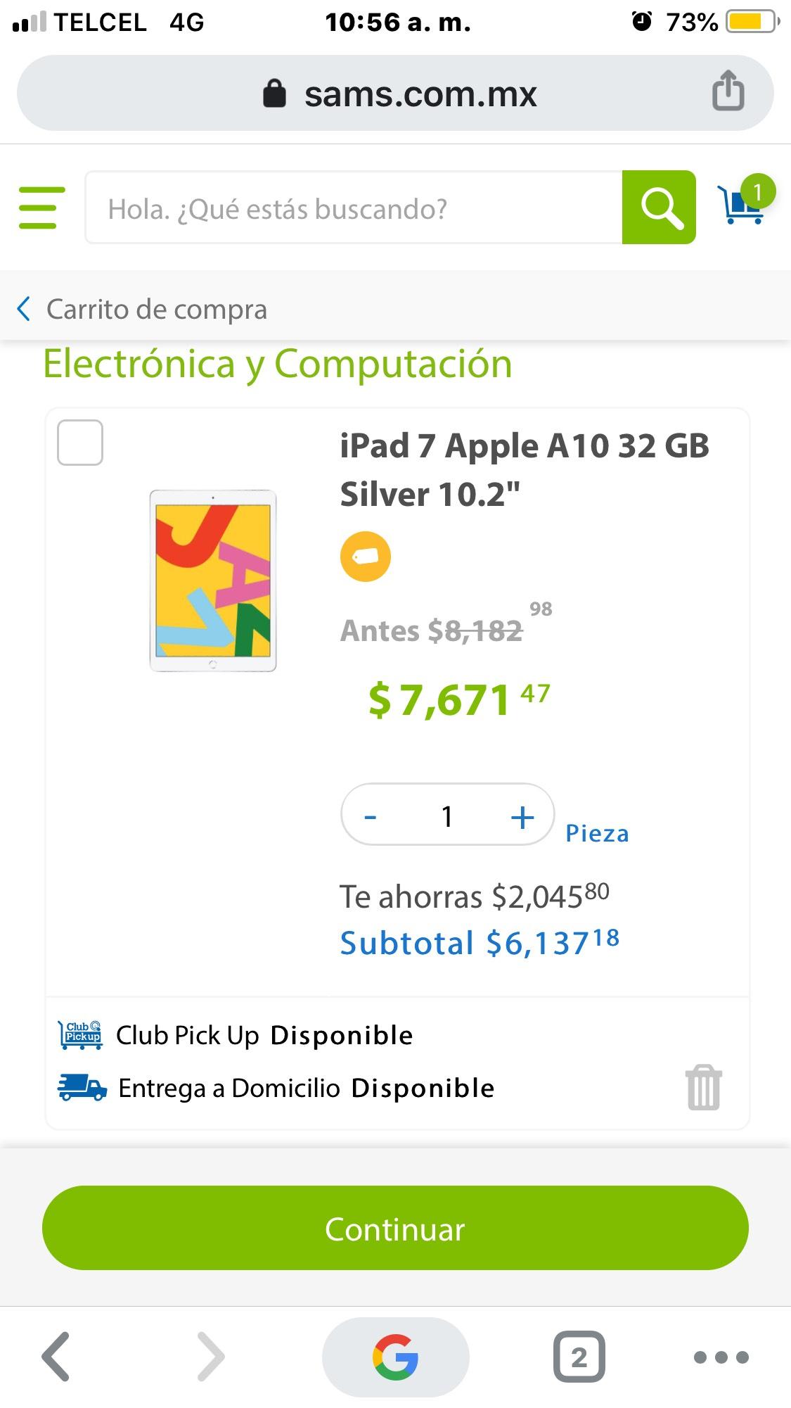 "Sam's Club: iPad 7 Apple A10 32 gb space gray 10.2"" (pagando con Sam's Inbursa)"