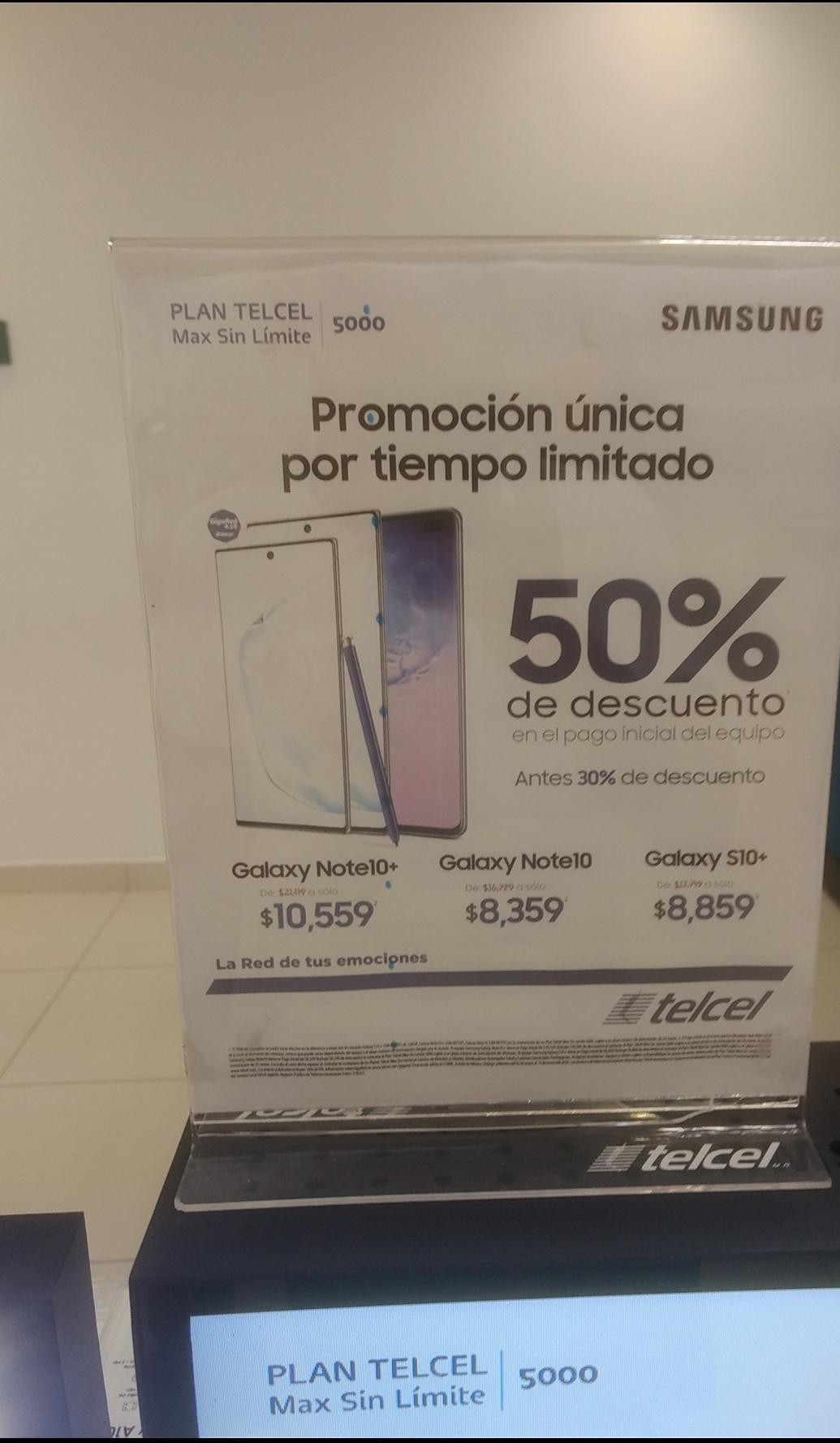 Telcel: Note 10+ en plan telcel 5000 y otros modelos Samsung en promoción