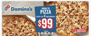 Domino's Pizza: mediana con 4 ingredientes 99 pesos
