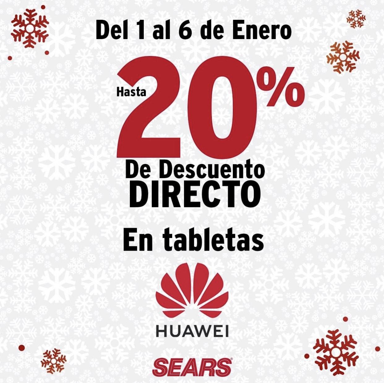 Sears: 20% de descuento en Tabletas Huawei