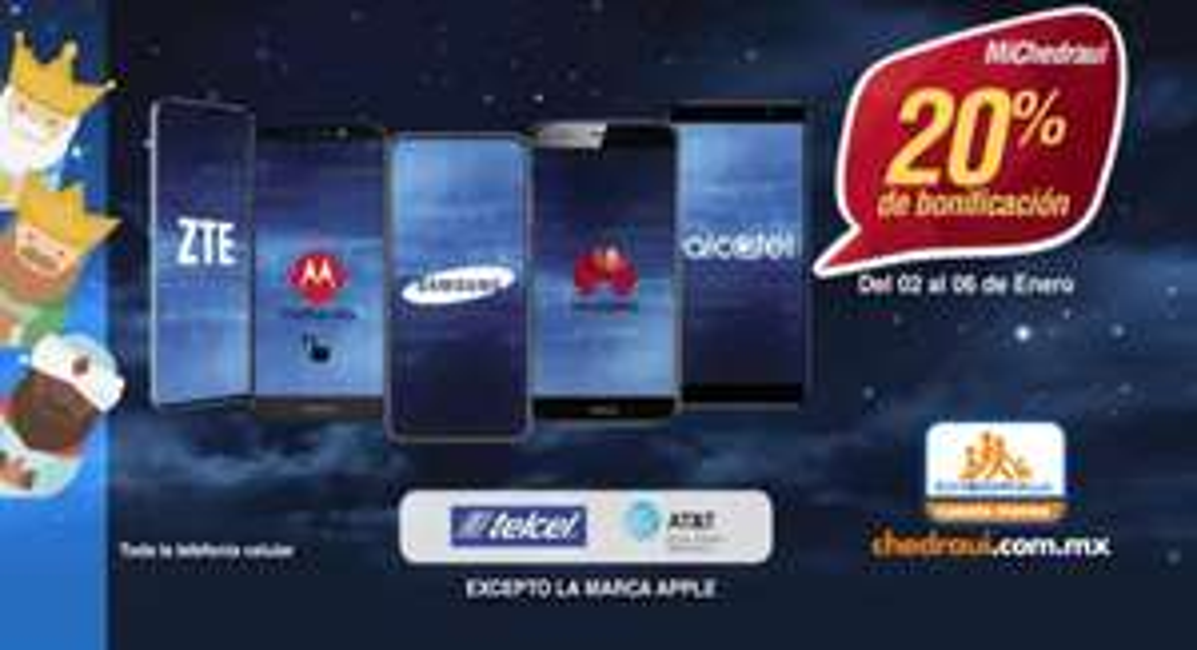 Chedraui: 20% de bonificación en Monedero en telefonía celular Telcel y AT&T