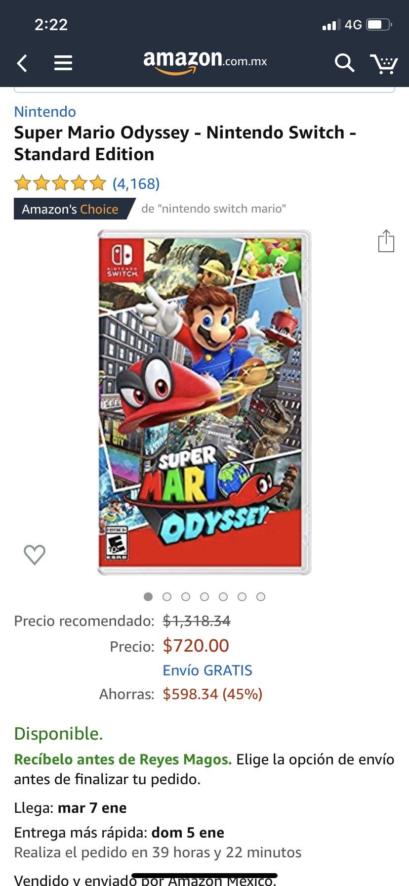 Amazon: Súper Mario Odyssey