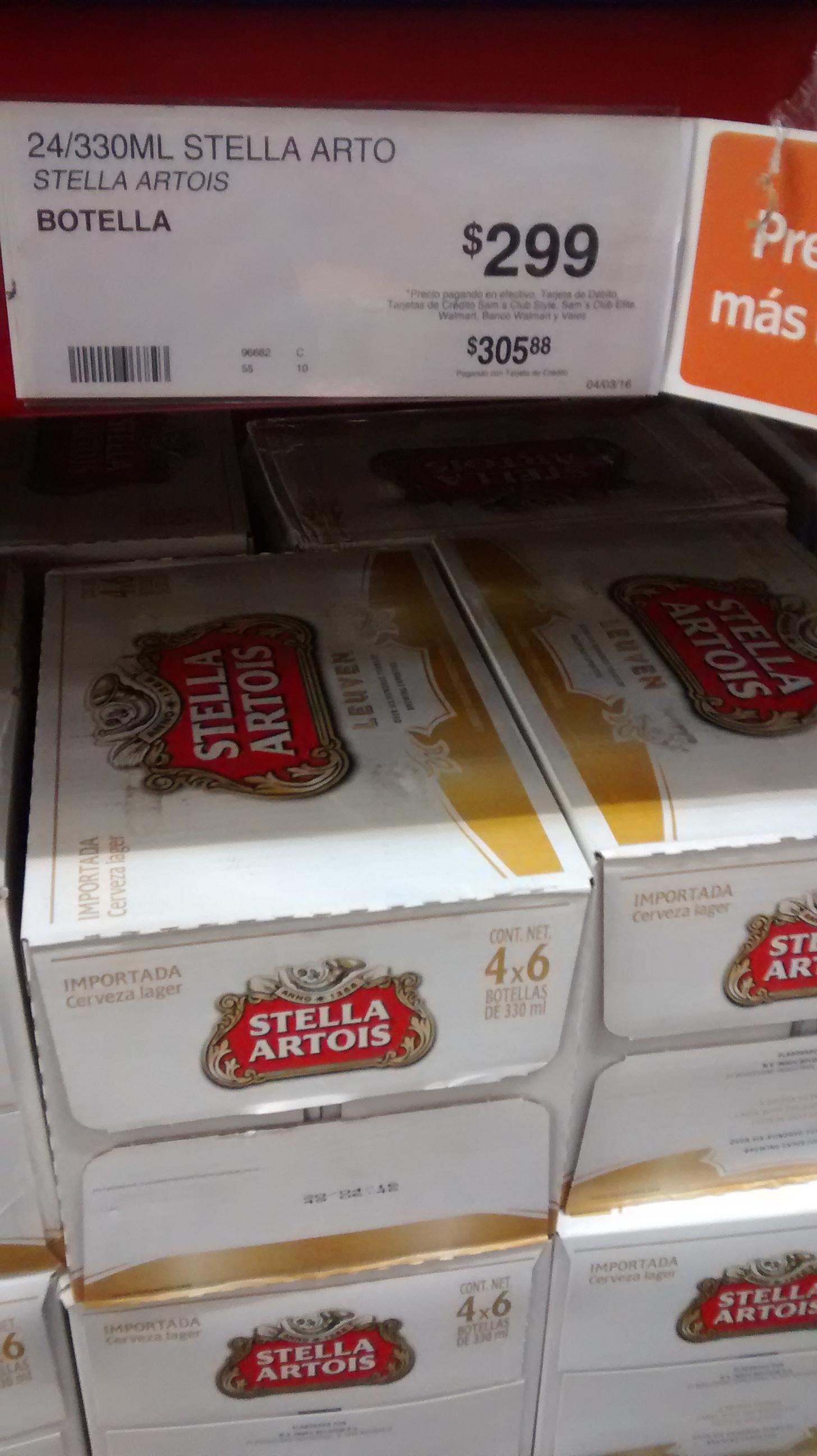 Sam's Club Galerias Aguascalientes: cerveza Stella Artois en oferta $299 cartón de 24