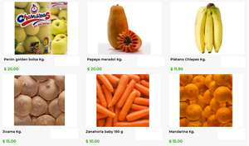 Bodega Aurrerá: El Tianguis de Mamá Lucha: Plátano $11.90 kg... Papapa $20 kg... Perón Golden Bolsa $20 kg... Mandarina $15 kg... y más