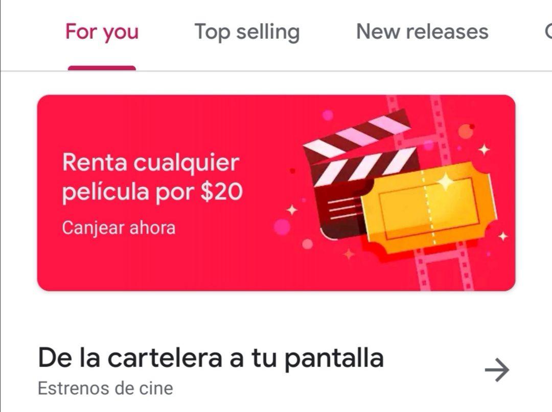 Google Play Movies: Renta cualquier película por $20