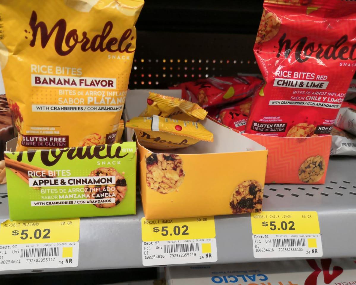 Walmart-bolitas de arroz inflado marca mordeli$5 pesos