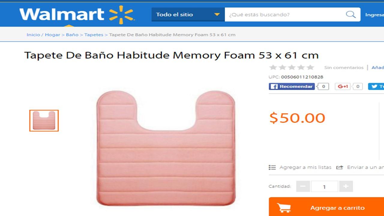 Walmart en línea: tapete de Memory Foam 53 x 61cm a $50