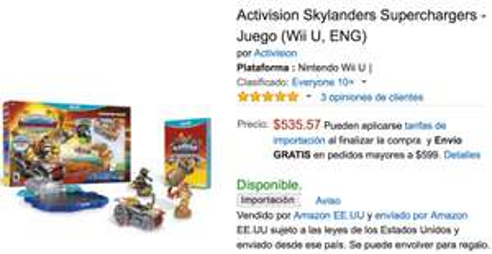 Amazon: Skylanders Supercharger Wii U con Donkey Kong a $535.57 o o