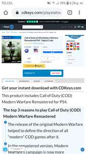CDKeys: Call of Duty Modern Warfare Remastered PS4, Código Digital