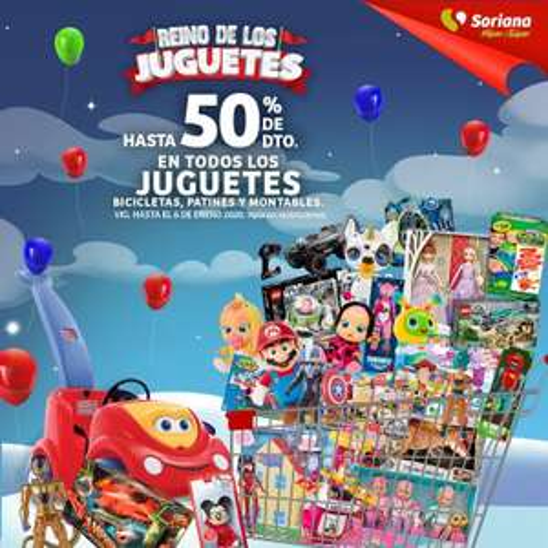 Soriana Híper: Hasta 50% de descuento en todos los juguetes, bicicletas, patines y montables