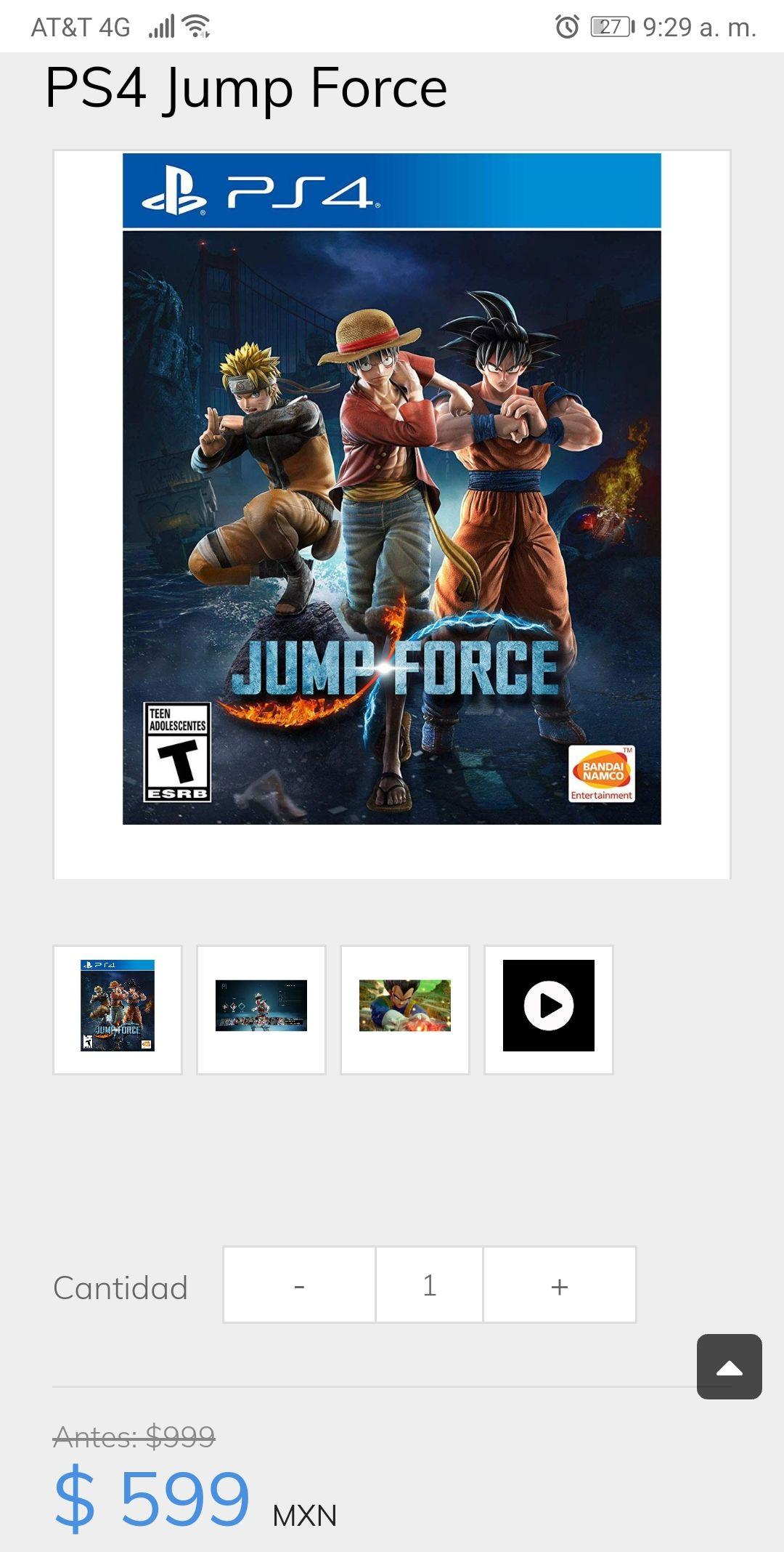 Sanborns online: Jump Force descuento de $400