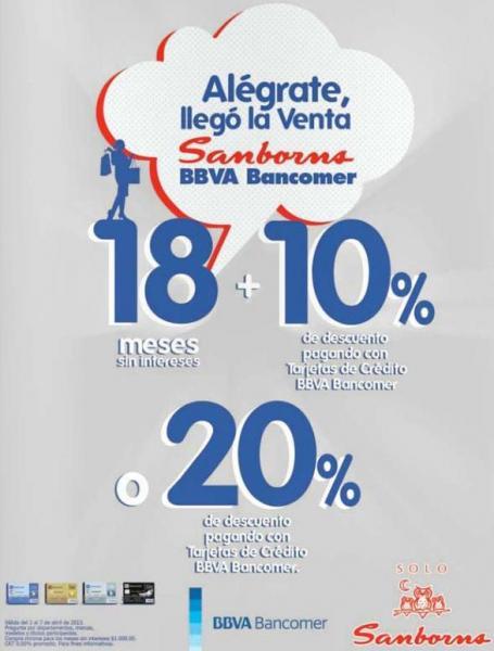 Sanborns: 20% de descuento o 10% y 18 MSI pagando con Bancomer