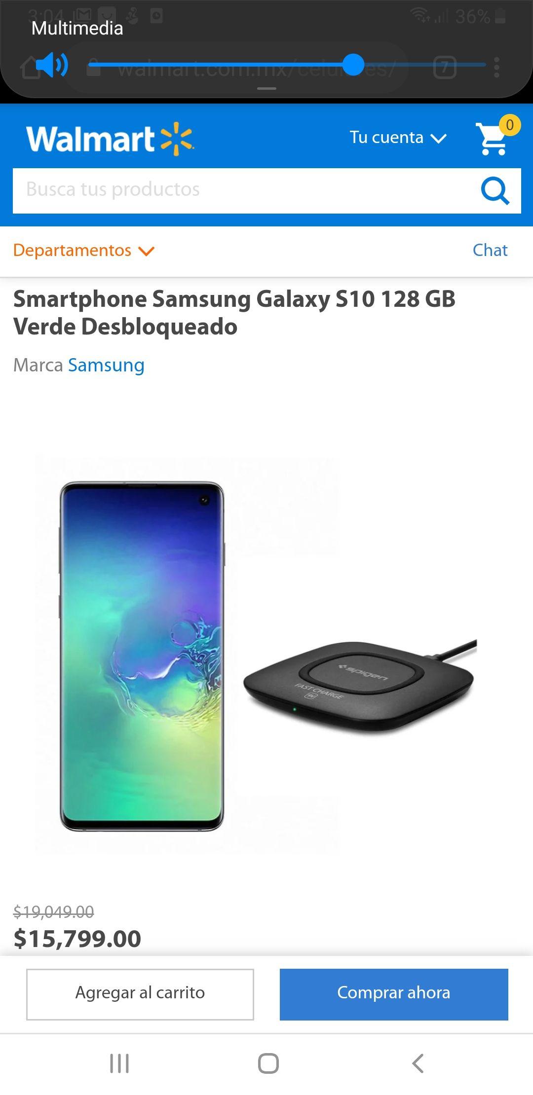 Walmart: Smartphone Samsung Galaxy S10 128 GB Verde Desbloqueado