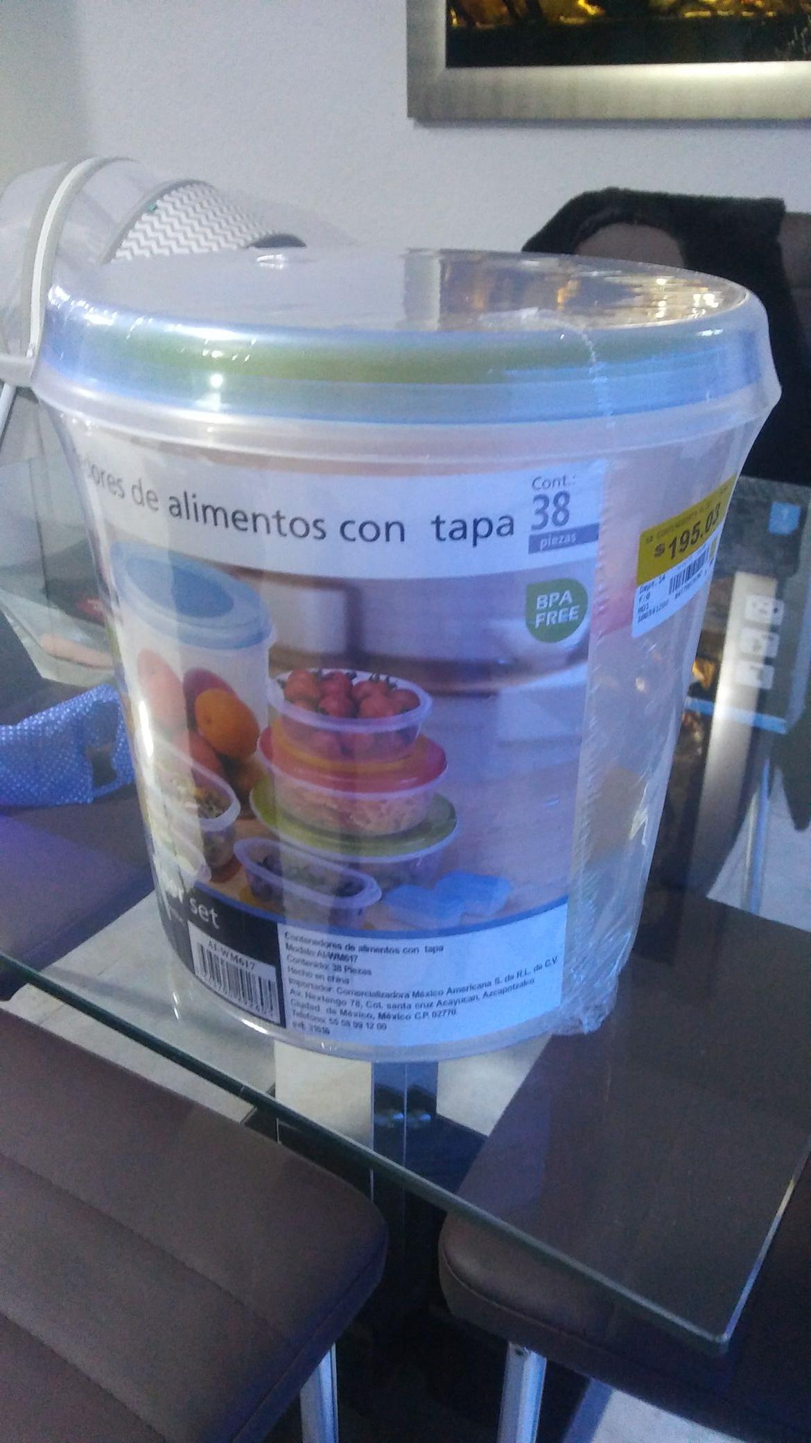 Bodega Aurrera: Contenedores de alimentos con tapa - 38 Piezas