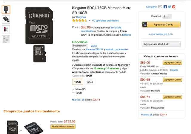Amazon MX: memoria micro sd kingstone clase 4 de 16 gb y 8gb