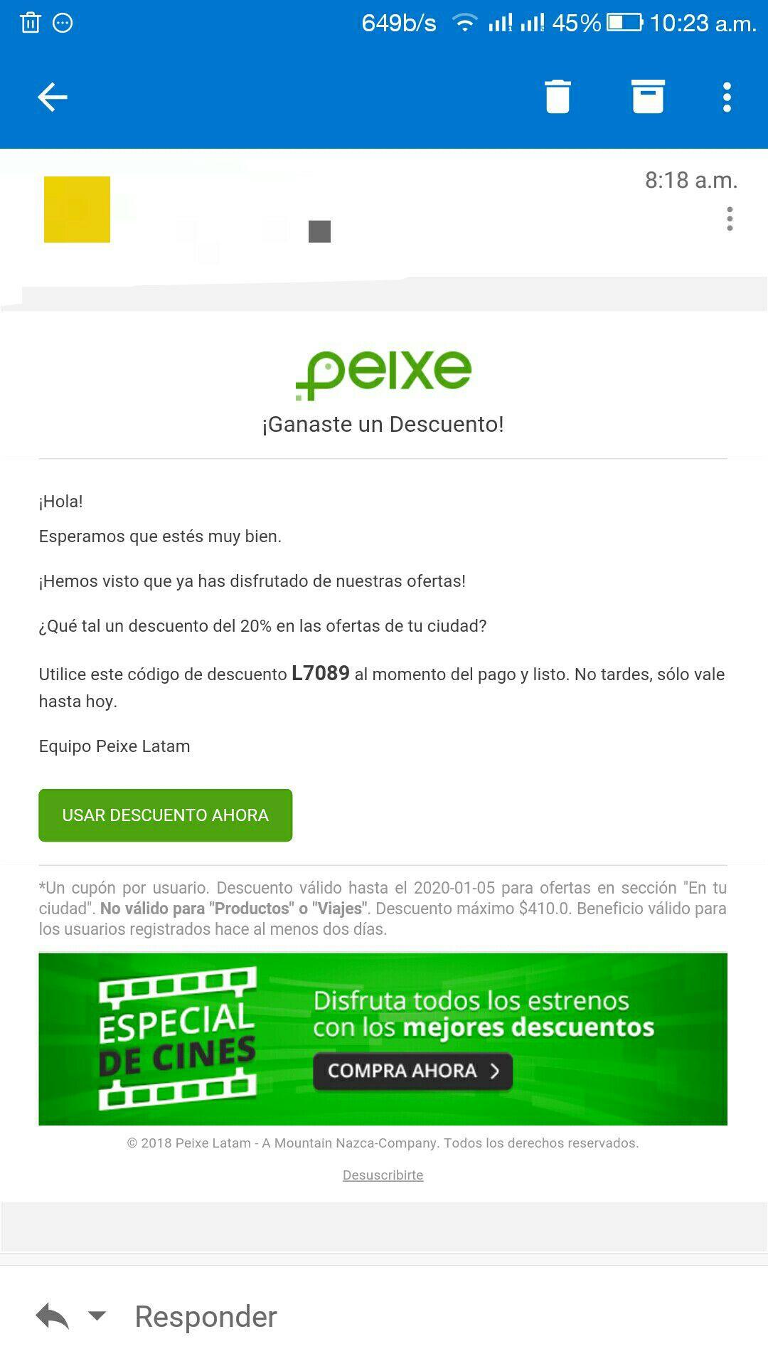 Groupon Peixe: 20% Off Solo Hoy (5 enero)