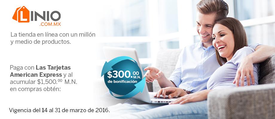 American Express: $300 de bonificación en estado de cuenta en compras mayores a $1500 en LINIO