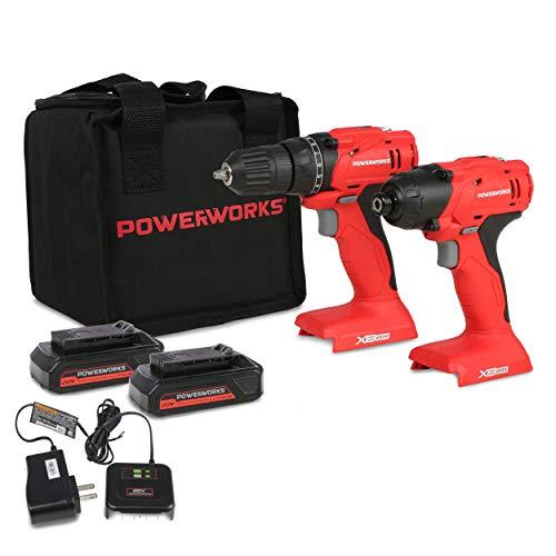 Amazon: POWERWORKS kit Taladro y Atornillador de Impacto inalámbrico (2 baterías y Cargador Incluido)