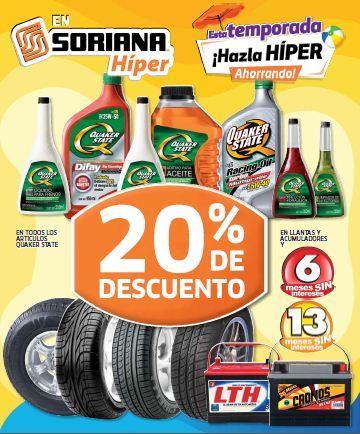 Folleto Soriana: 20% de descuento en todos los cereales, llantas, colchones y más