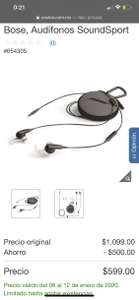 Costco: Audífonos Bose Soundsport con cable