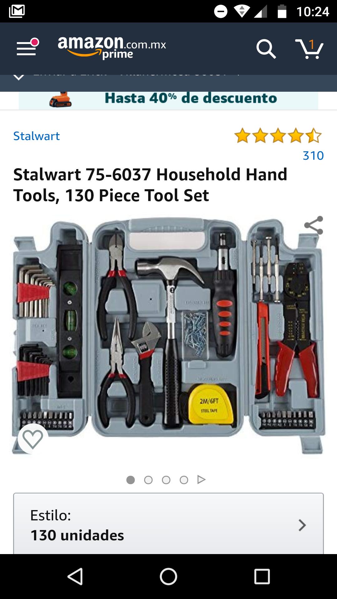 Amazon: Caja de herramientas de 130 piezas