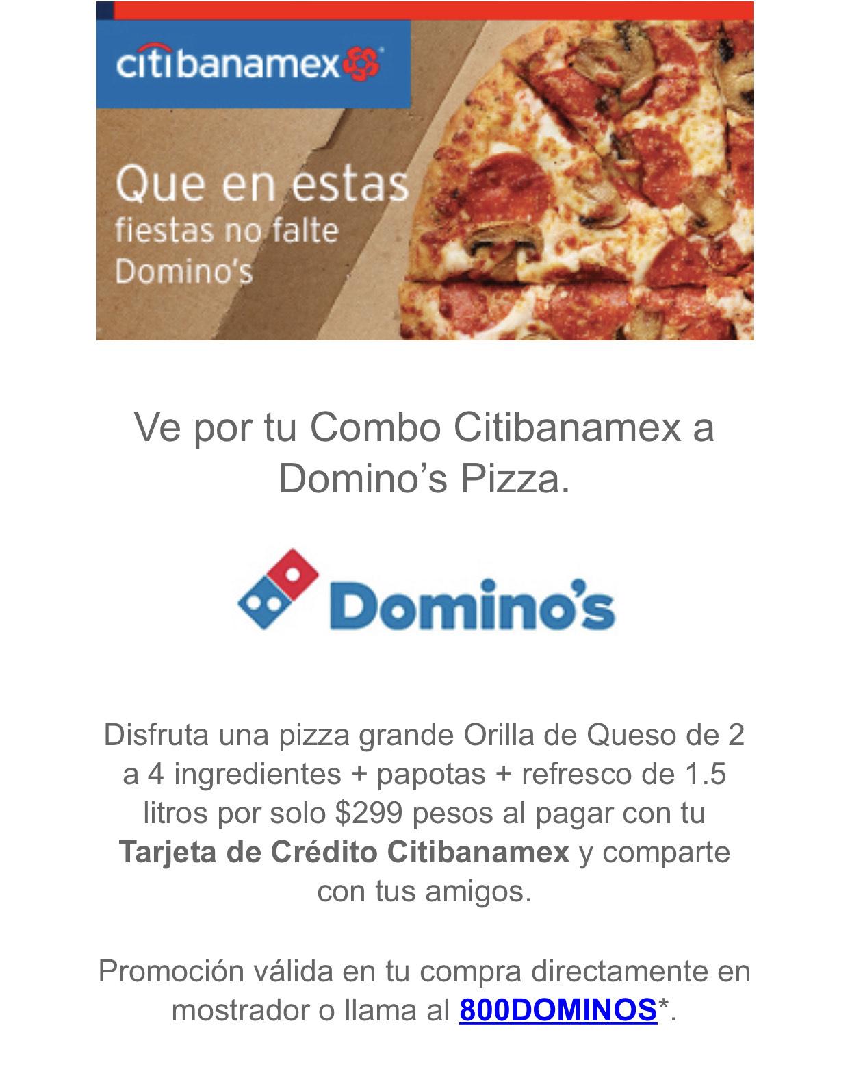 Domino's Pizza: Combo Pizza Grande con Citibanamex