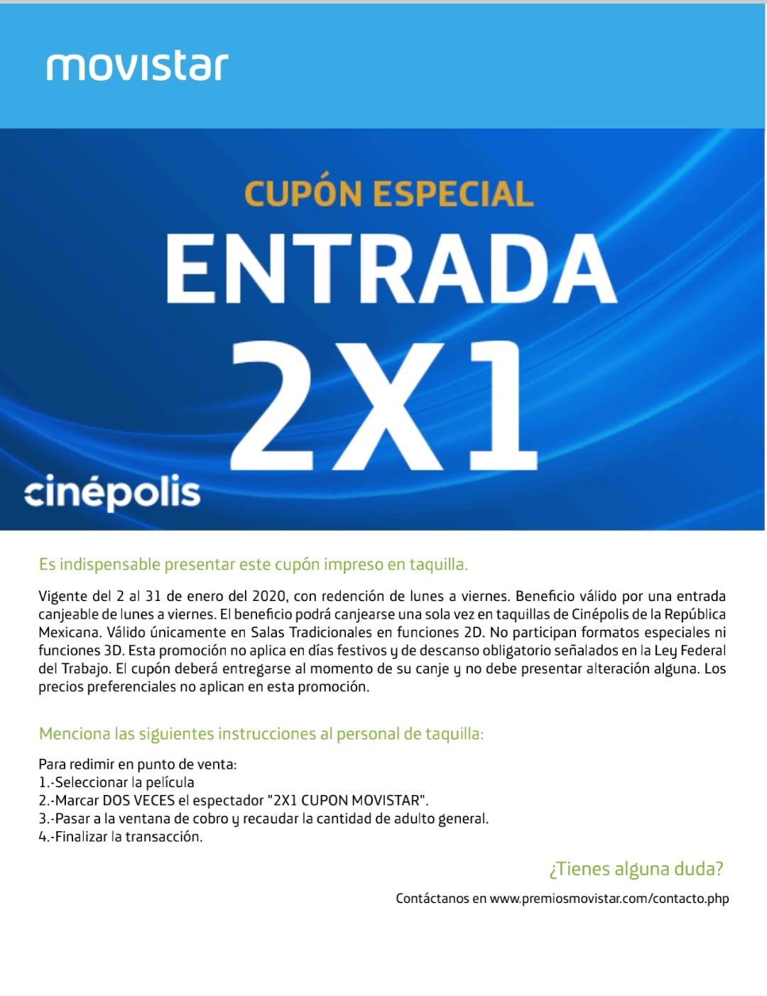 Cupón Movistar 2x1 para Cinépolis (mes de enero)