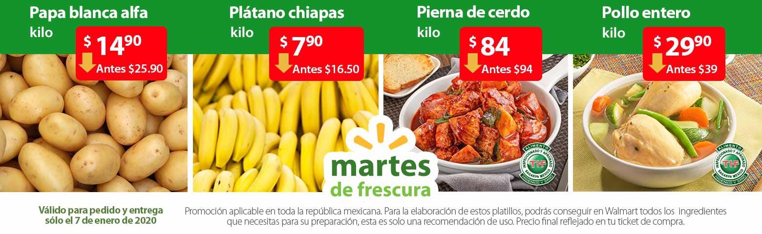 Walmart: Martes de Frescura 7 de Enero 2020 | TODAS LAS MANZANAS $19.90kg, Plátano Chiapas $7.90kg, Papa Blanca $14.90kg, Y MUCHO MÁS...