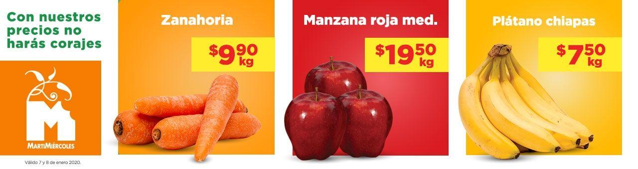 Chedraui: MartiMiércoles de Chedraui 7 y 8 Enero: Plátano $7.50 kg... Zanahoria $9.90 kg... Manzana Roja $19.50 kg... Aguacate $24.50 kg.