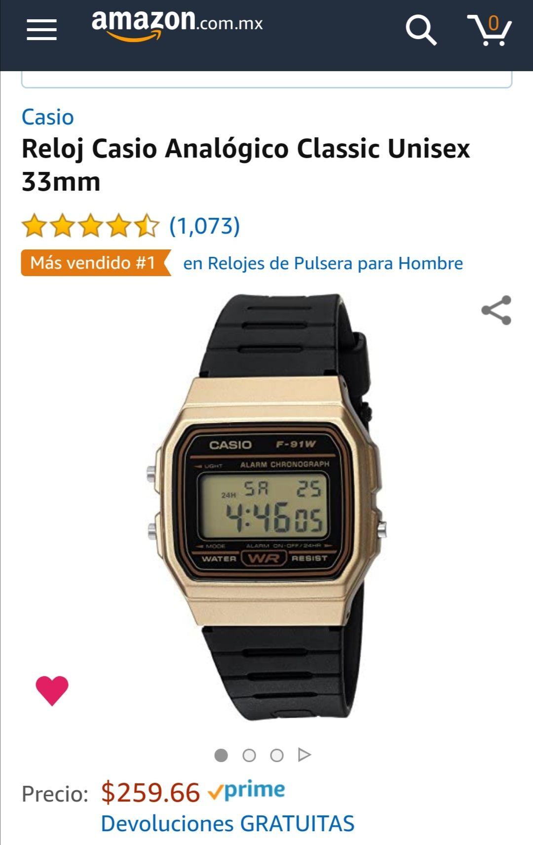 Amazon: Reloj Casio Analógico Classic Unisex 33mm (aplica prime)
