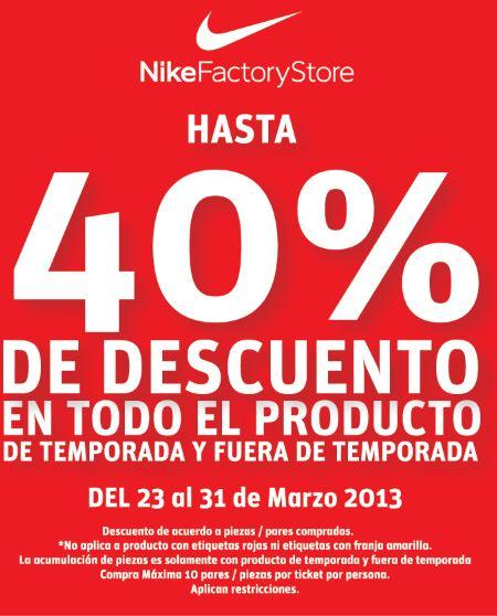 Nike Factory Store: 40% de descuento comprando 4 artículos, 30% comprando 3 y más