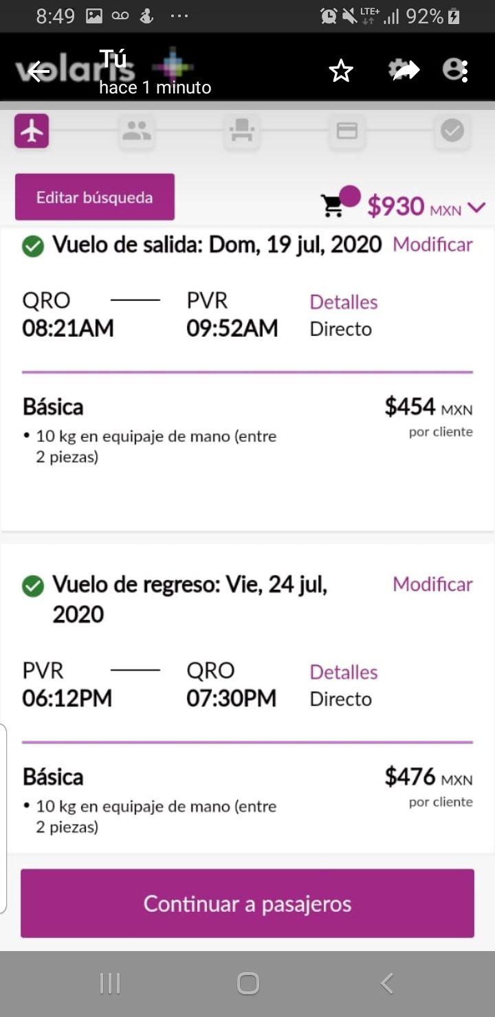 Volaris Vuelo redondo Qro-Vallarta/nayarit en vacaciones de verano (julio 2020)