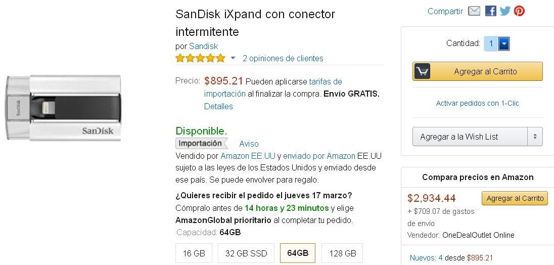 Amazón México: Memoria Sandisk 64 gb para ampliar iPhone o iPad
