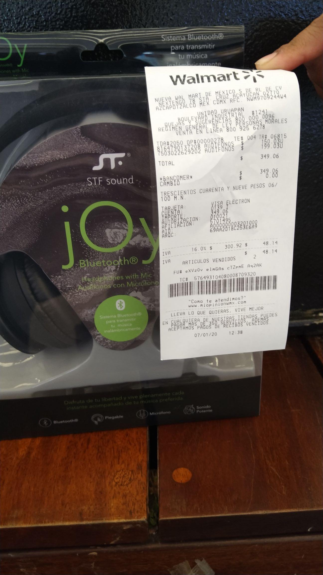 Walmart - Audífonos STF Joy y Motorola 150.00