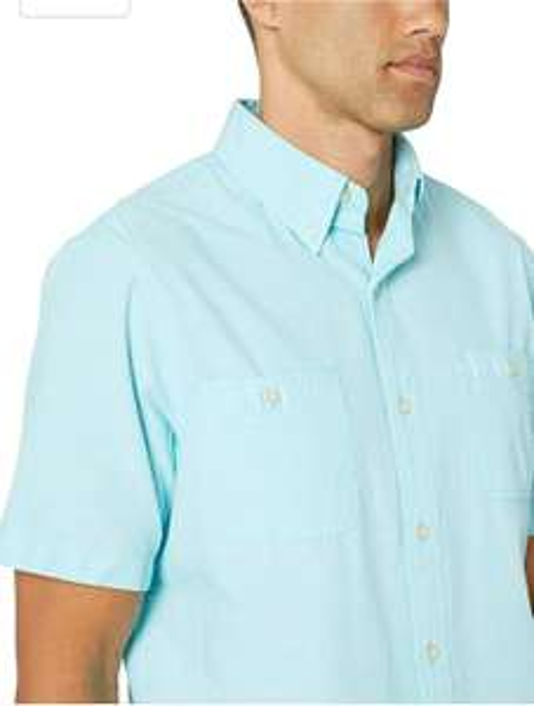 Amazon: Chaps Camisa de Manga Corta Chambray con Botones para Hombre Talla chica