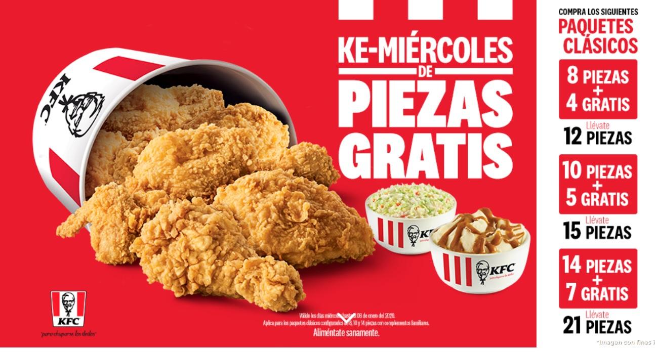 KFC: Ultimo miercoles de piezas gratis
