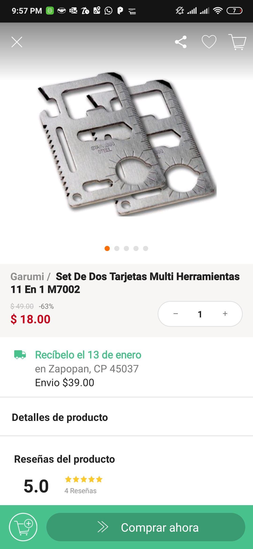 Linio: Set de dos tarjetas multi herramientas 11 en 1