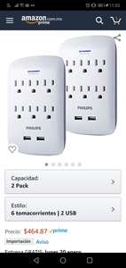 Amazon: Philips Surge Protector, 2 Pack, 6 Outlet, 2 USB Ports, 900 Joules