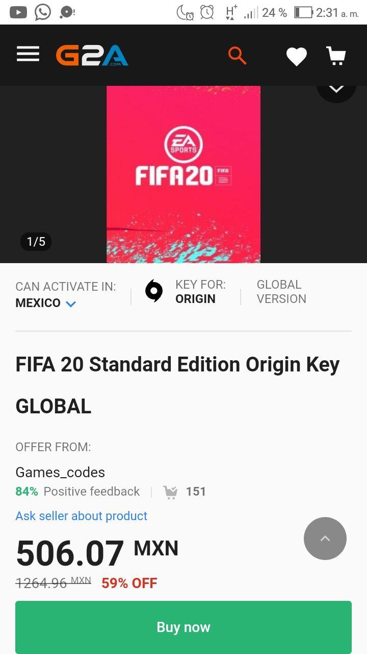 G2a FIFA 20 pc