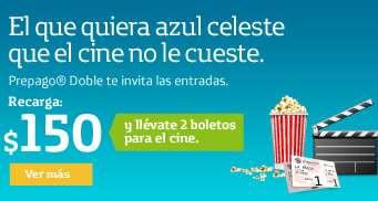 Cinemex: 2 boletos gratis haciendo recarga de $150 o más de Movistar