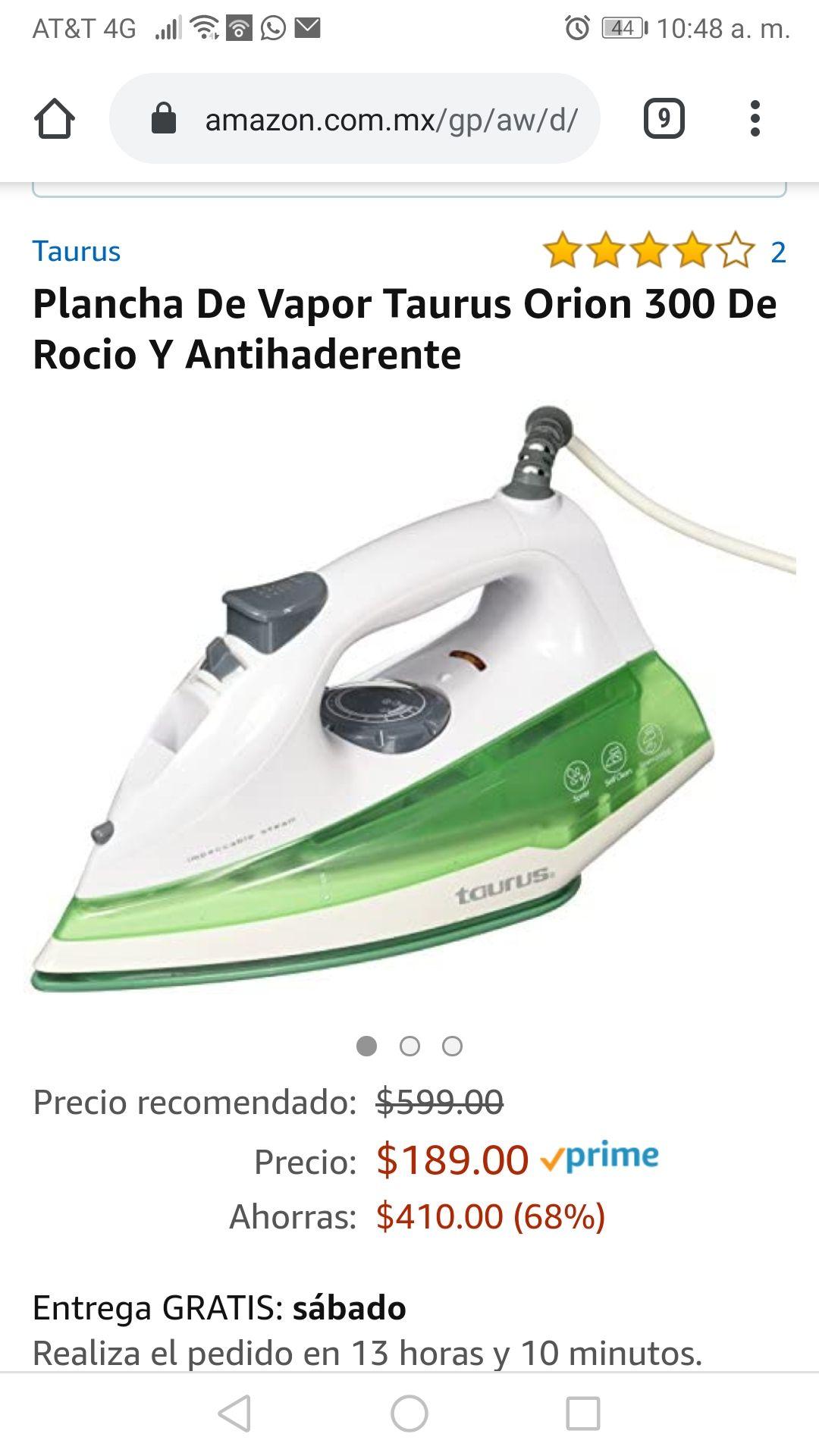 Amazon: Plancha de Vapor Taurus Orion 300