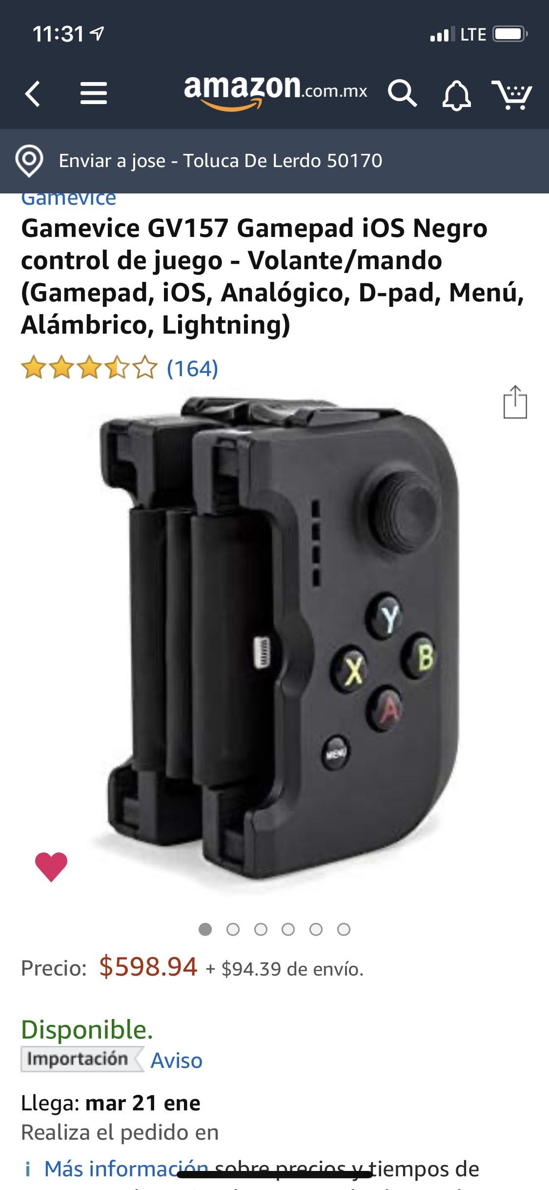 Amazon Gamevice GV157 precio normal Roa da los $1500