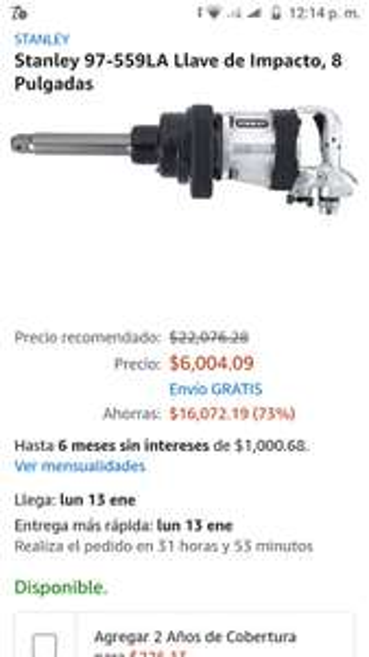 Amazon: Llave de impacto Stanley 8 pulgadas