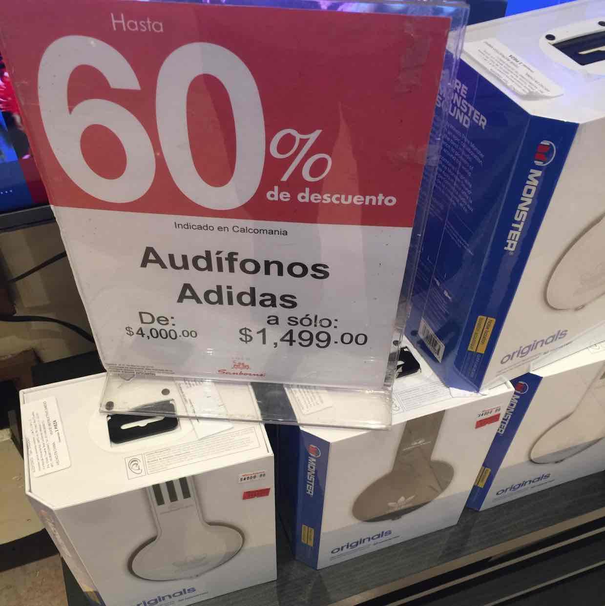 Sanborns Online y tienda física: Audifonos Adidas Monster a $1,699